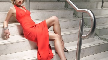 5635-a-beautiful-woman-in-a-red-dress-posing-on-stairs-or